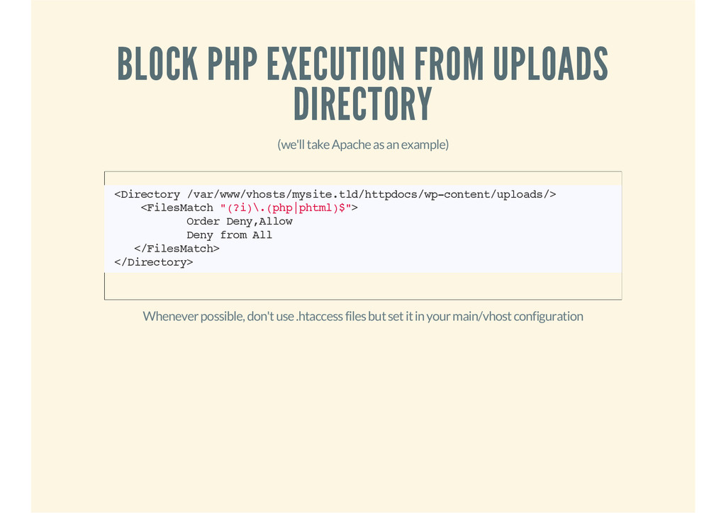 BLOCK PHP EXECUTION FROM UPLOADS DIRECTORY (we'...