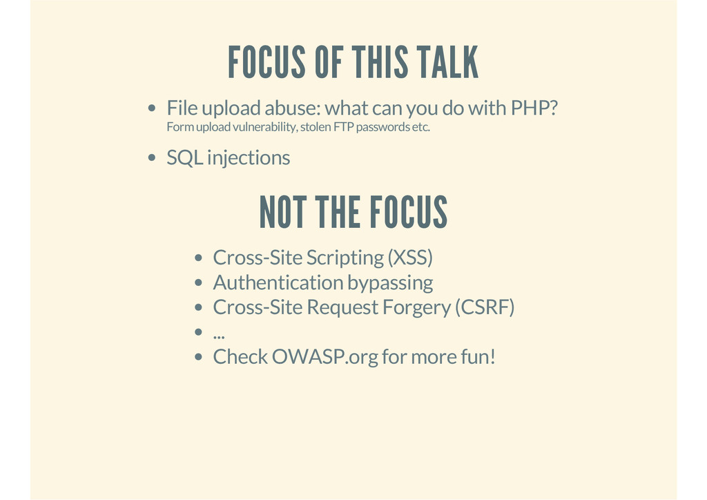 FOCUS OF THIS TALK File upload abuse: what can ...