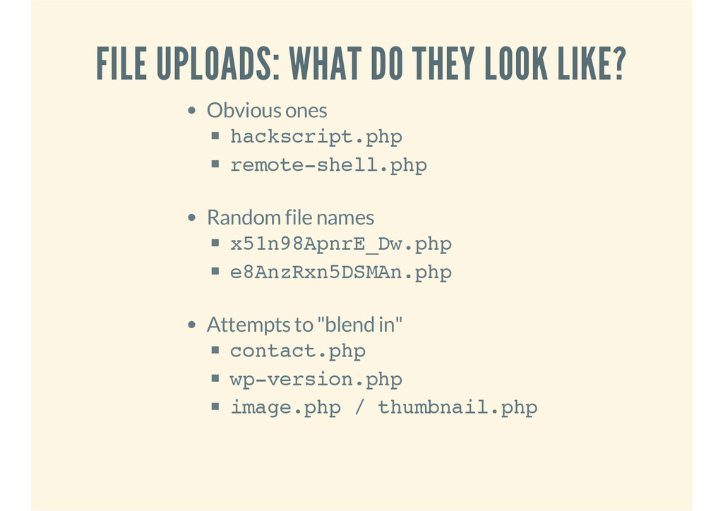 FILE UPLOADS: WHAT DO THEY LOOK LIKE? Obvious o...