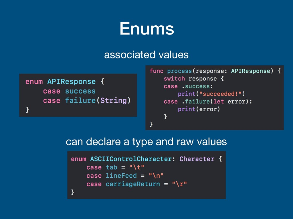 Enums associated values can declare a type and ...