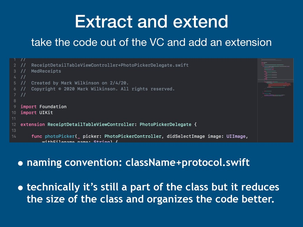 Extract and extend take the code out of the VC ...