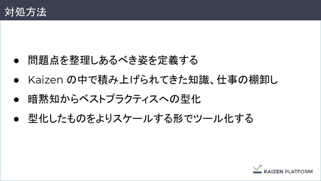 28 対処方法 ● 問題点を整理しあるべき姿を定義する ● Kaizen の中で積み上げられて...