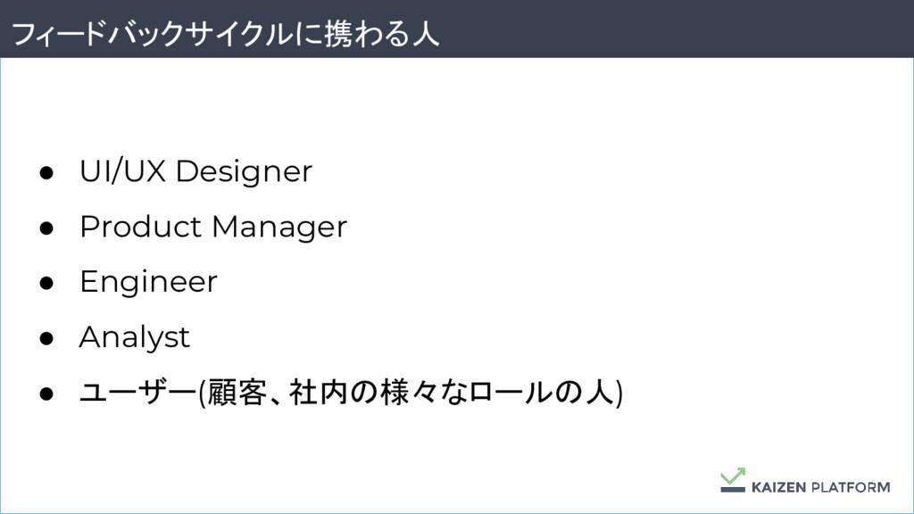 48 フィードバックサイクルに携わる人 ● UI/UX Designer ● Product ...