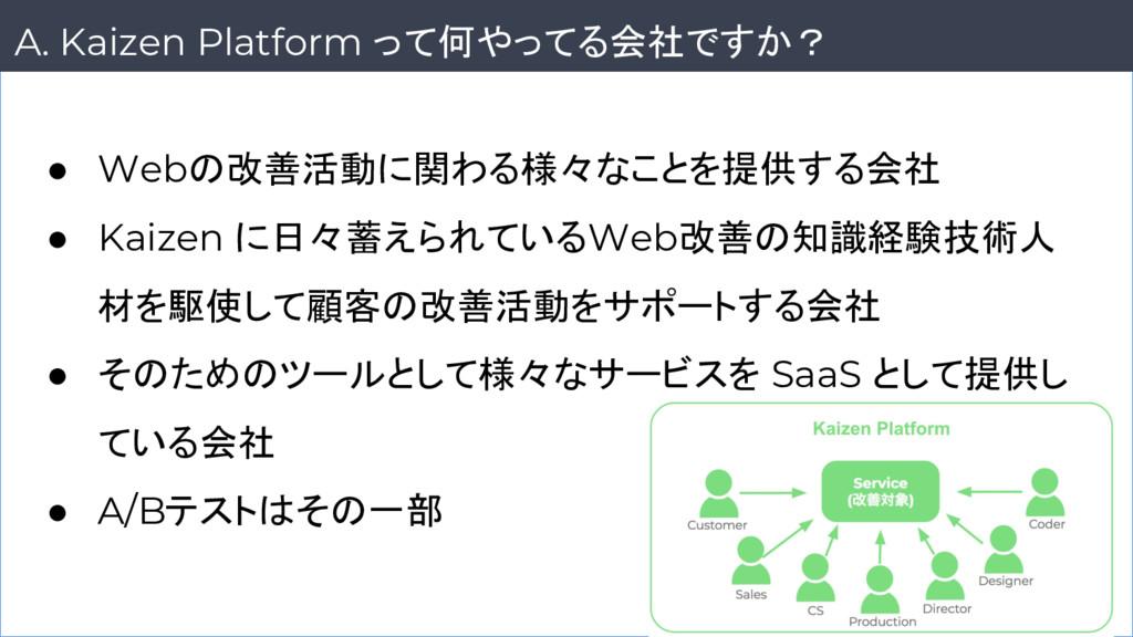 6 A. Kaizen Platform って何やってる会社ですか? ● Webの改善活動に関...
