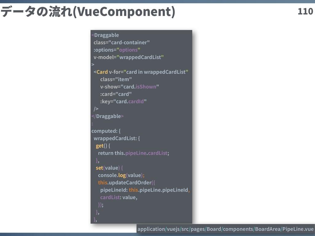 """110 データの流れ(VueComponent) <Draggable class=""""card..."""