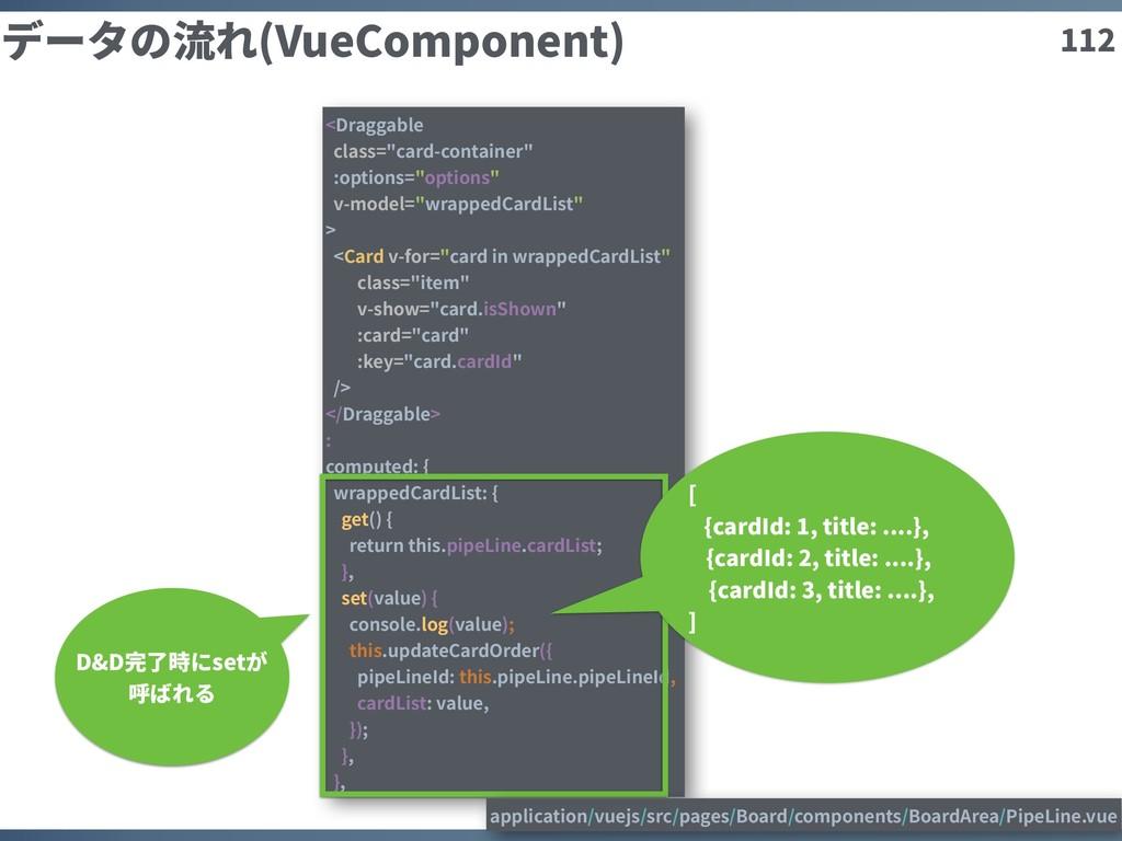 """112 データの流れ(VueComponent) <Draggable class=""""card..."""