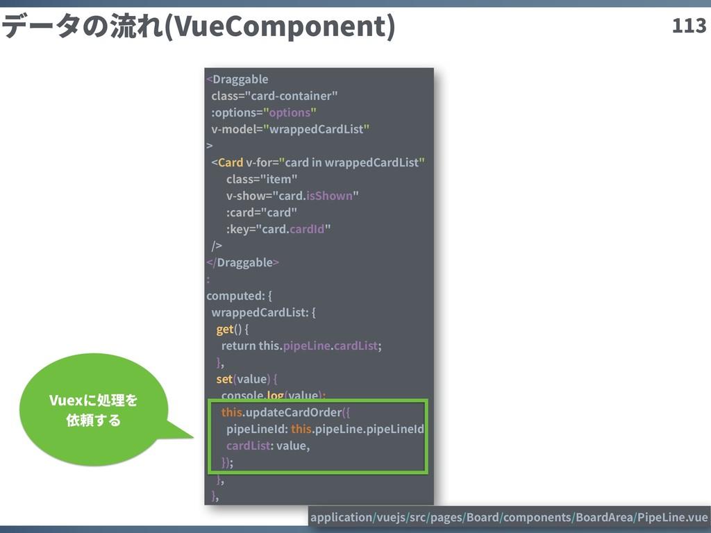 """113 データの流れ(VueComponent) <Draggable class=""""card..."""