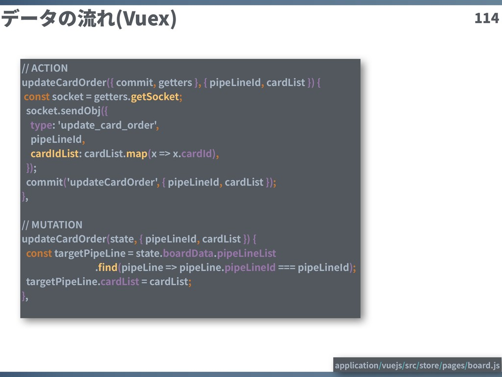 114 データの流れ(Vuex) // ACTION updateCardOrder({ co...