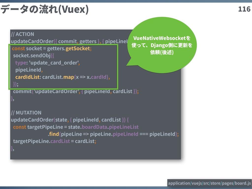 116 データの流れ(Vuex) // ACTION updateCardOrder({ co...
