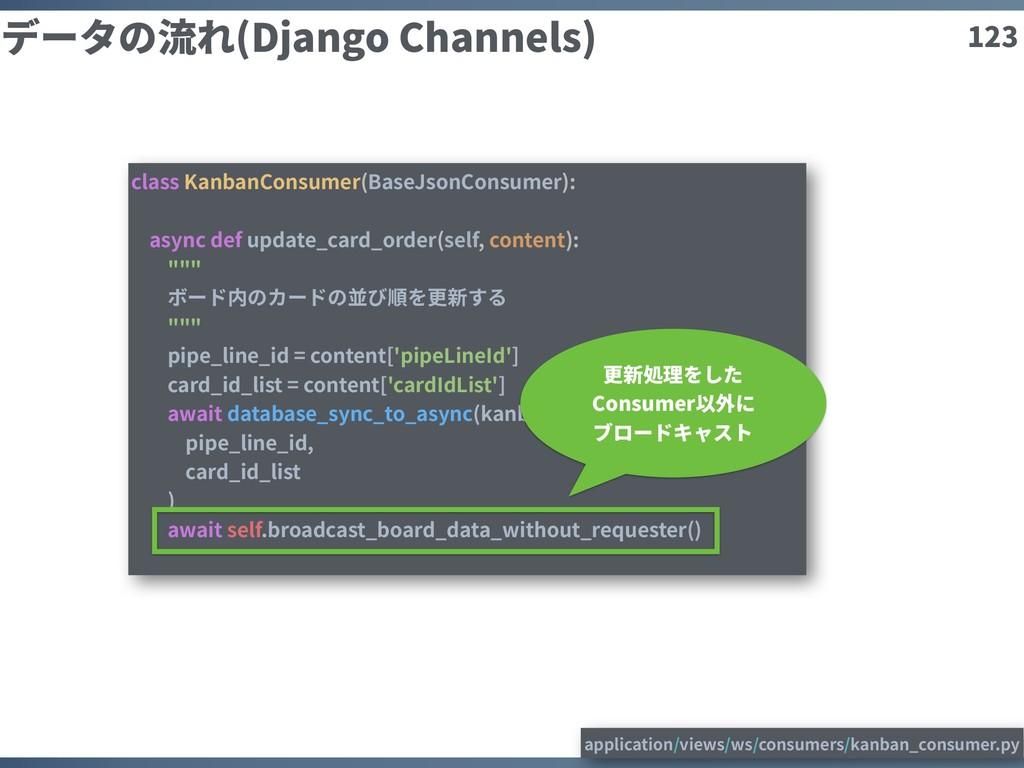 123 データの流れ(Django Channels) class KanbanConsume...