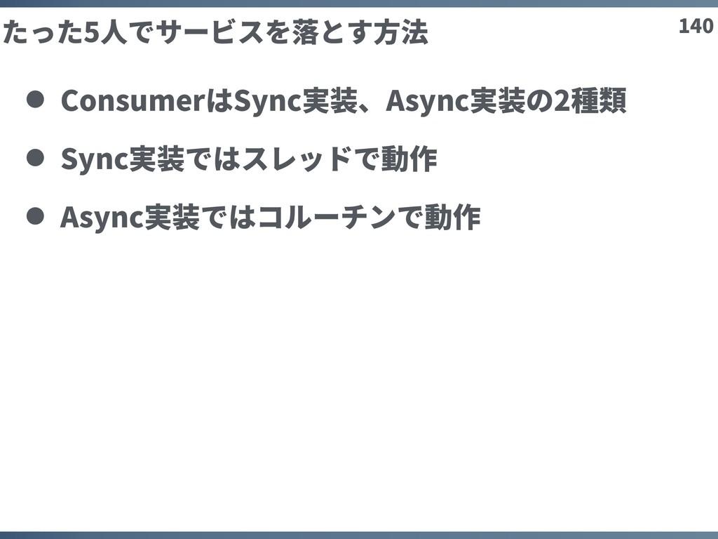 140 たった5⼈でサービスを落とす⽅法 ConsumerはSync実装、Async実装の2種...