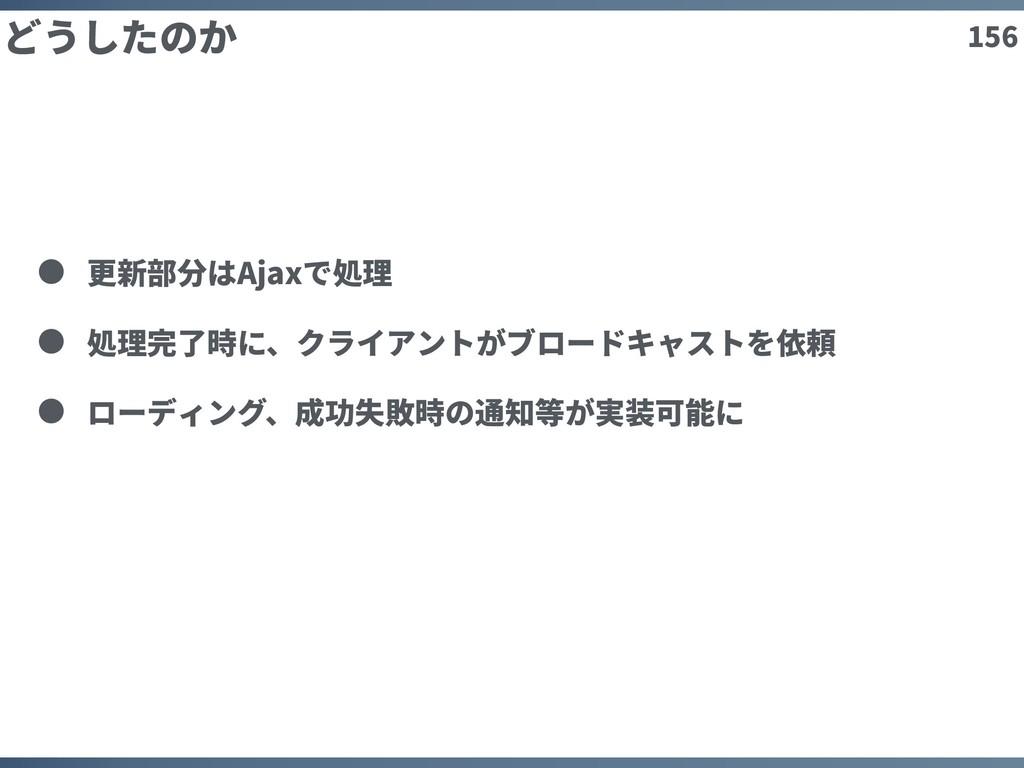 156 どうしたのか 更新部分はAjaxで処理 処理完了時に、クライアントがブロードキャストを...