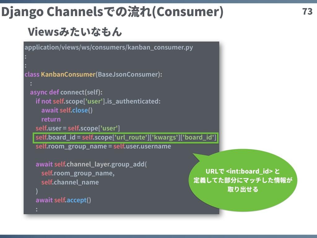 73 Django Channelsでの流れ(Consumer) application/vi...