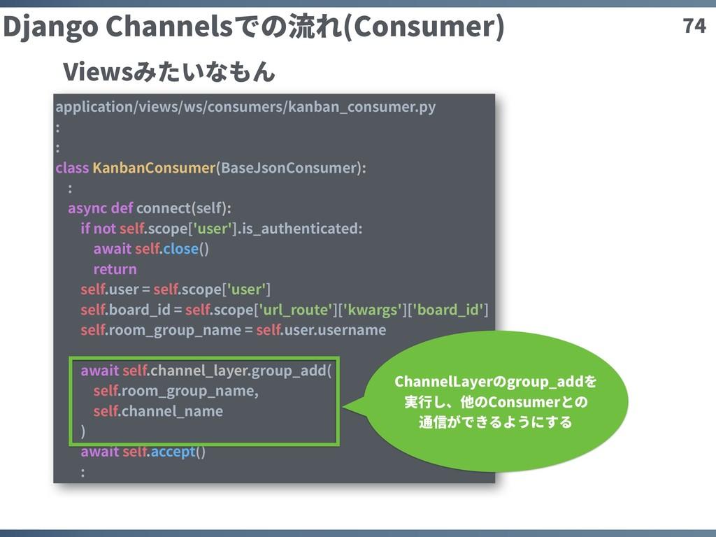 74 Django Channelsでの流れ(Consumer) application/vi...