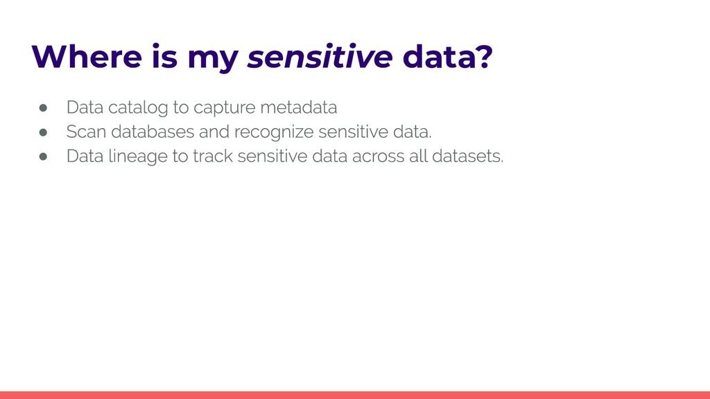 Where is my sensitive data? ● ● ●