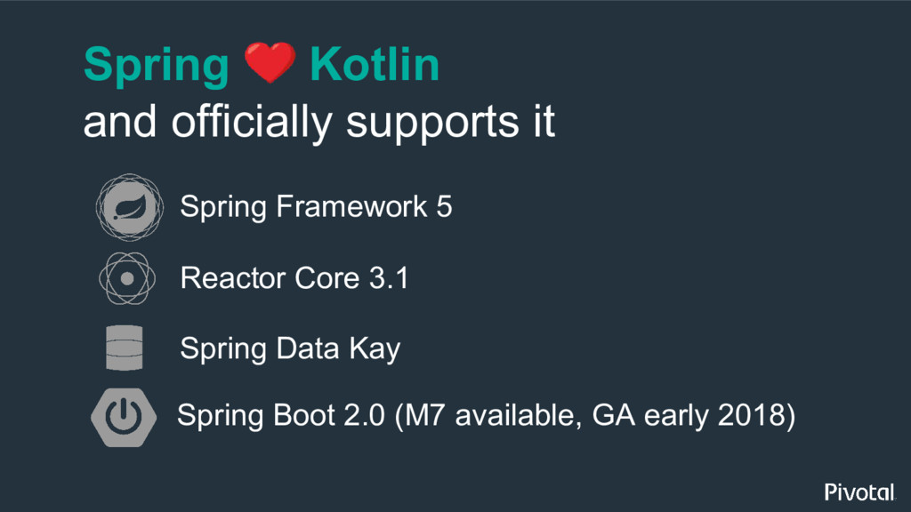 Spring Kotlin and officially supports it Spring...