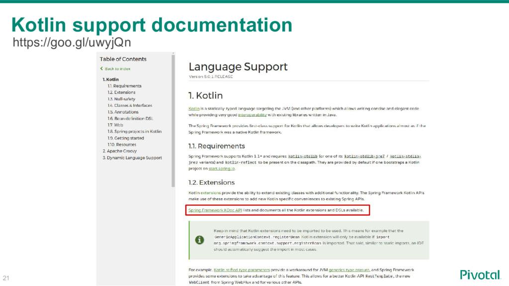 21 Kotlin support documentation https://goo.gl/...