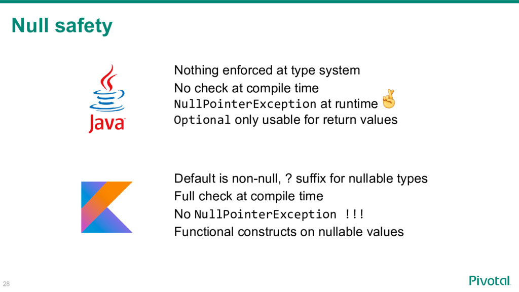 Null safety 28 Nothing enforced at type system ...