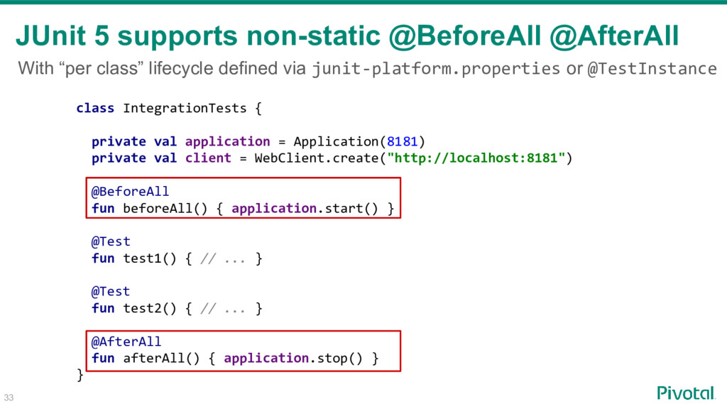 33 JUnit 5 supports non-static @BeforeAll @Afte...