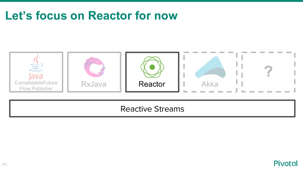 41 Let's focus on Reactor for now RxJava Comple...