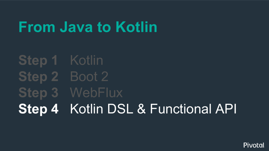 From Java to Kotlin Step 1 Kotlin Step 2 Boot 2...