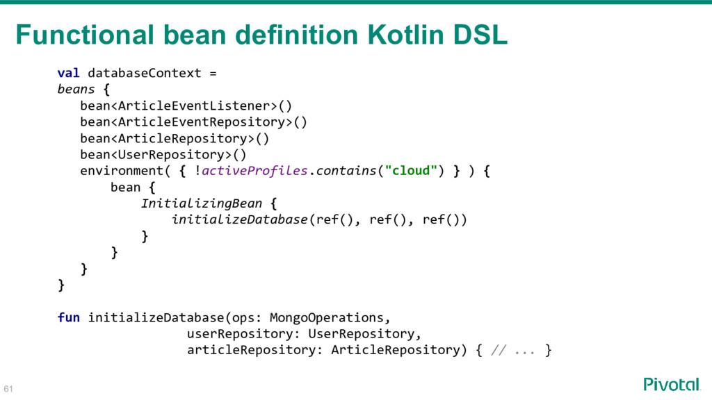 61 Functional bean definition Kotlin DSL val da...