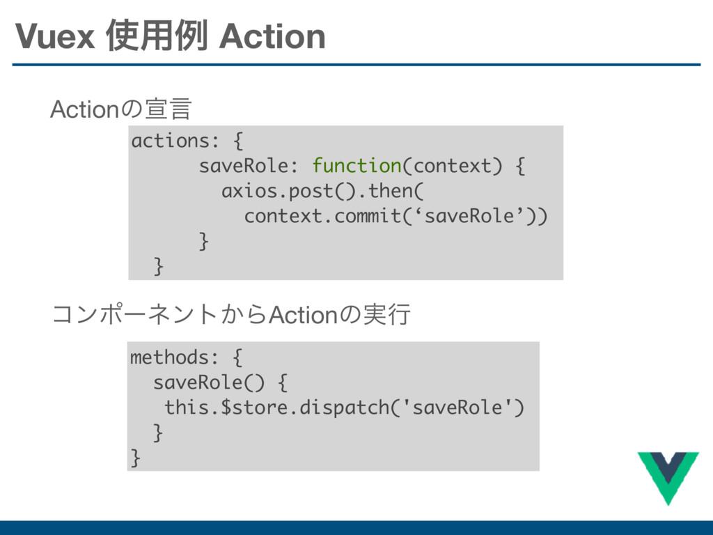 actions: { saveRole: function(context) { axios....