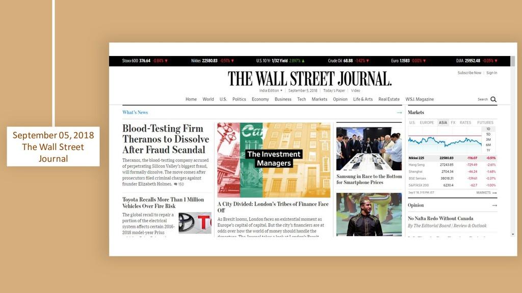 September 05, 2018 The Wall Street Journal