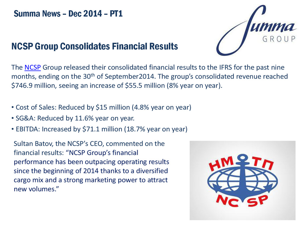 NCSP Group Consolidates Financial Results The N...