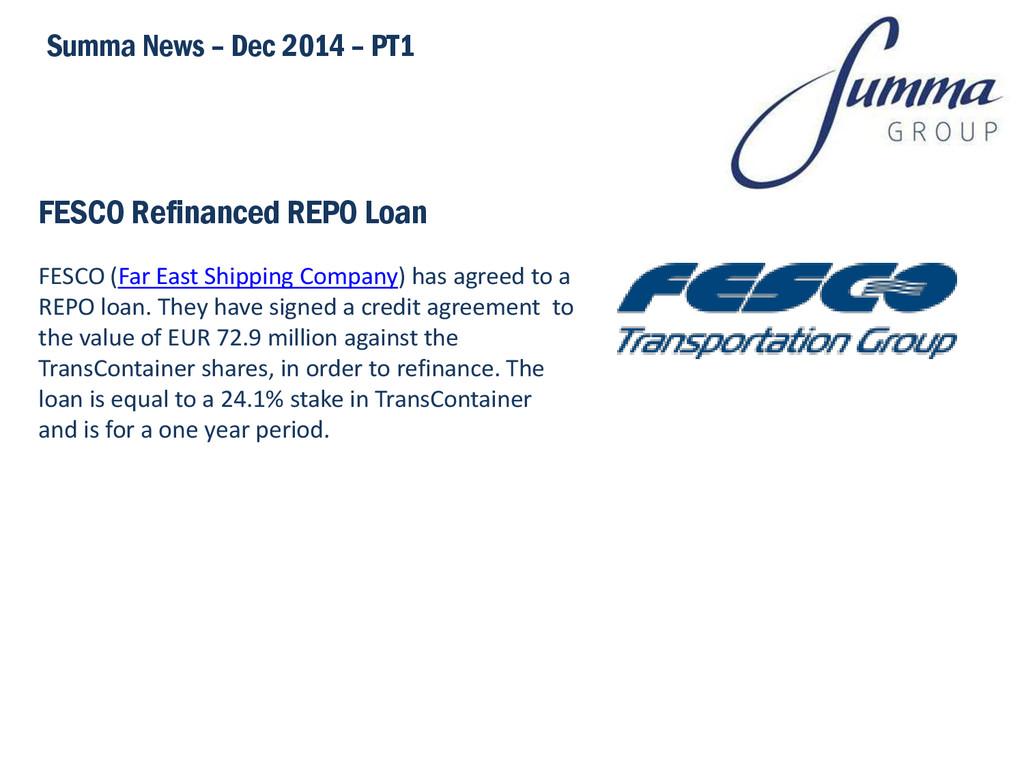 FESCO Refinanced REPO Loan Summa News – Dec 201...
