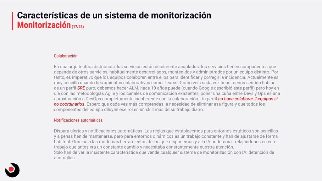 Características de un sistema de monitorización...