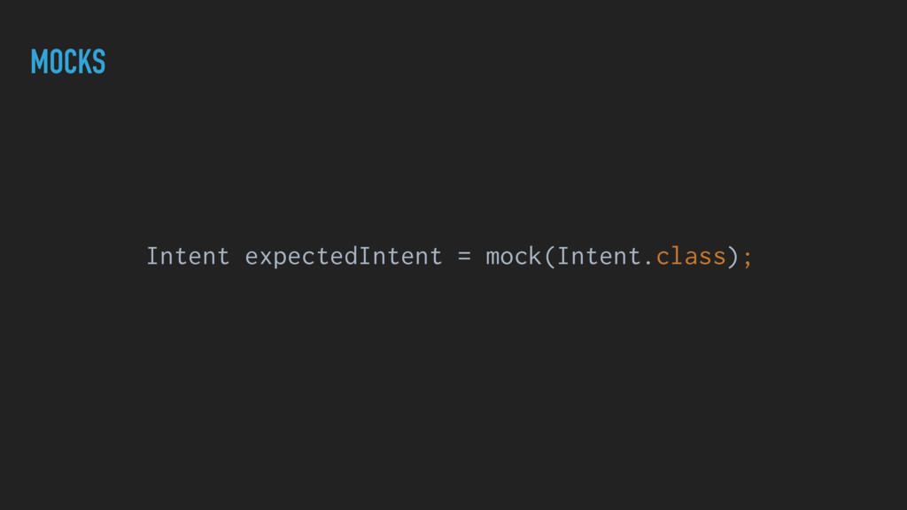 MOCKS Intent expectedIntent = mock(Intent.class...