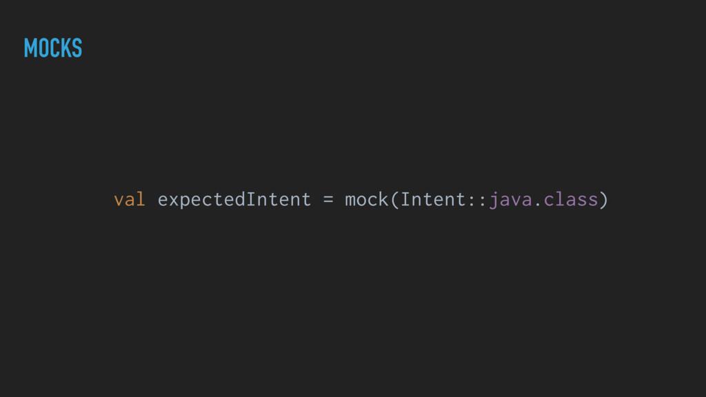 MOCKS val expectedIntent = mock(Intent::java.cl...