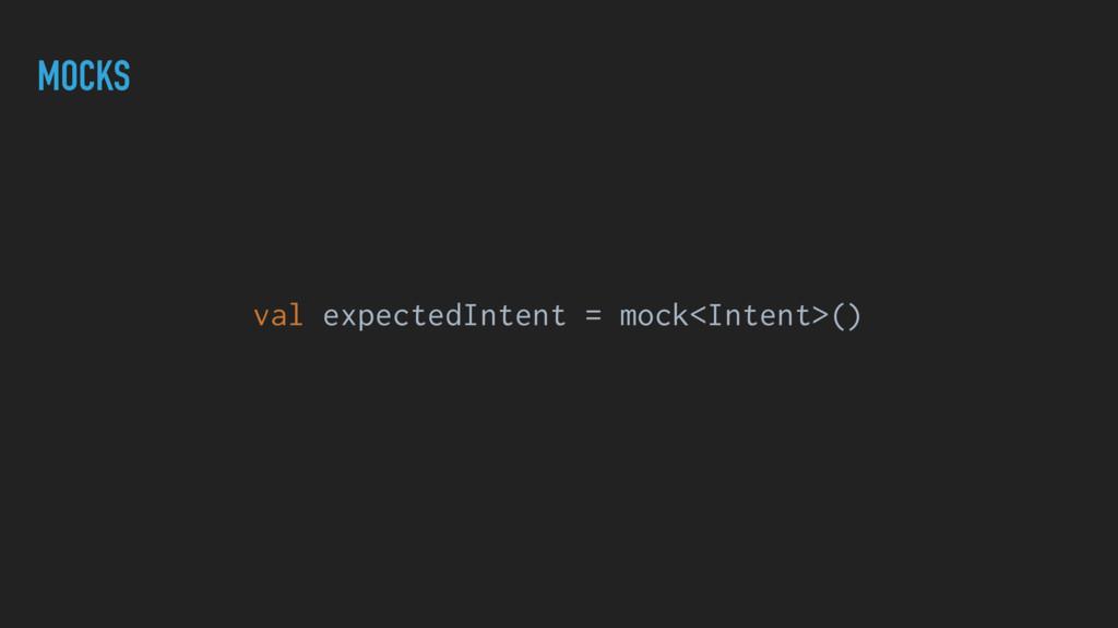 MOCKS val expectedIntent = mock<Intent>()