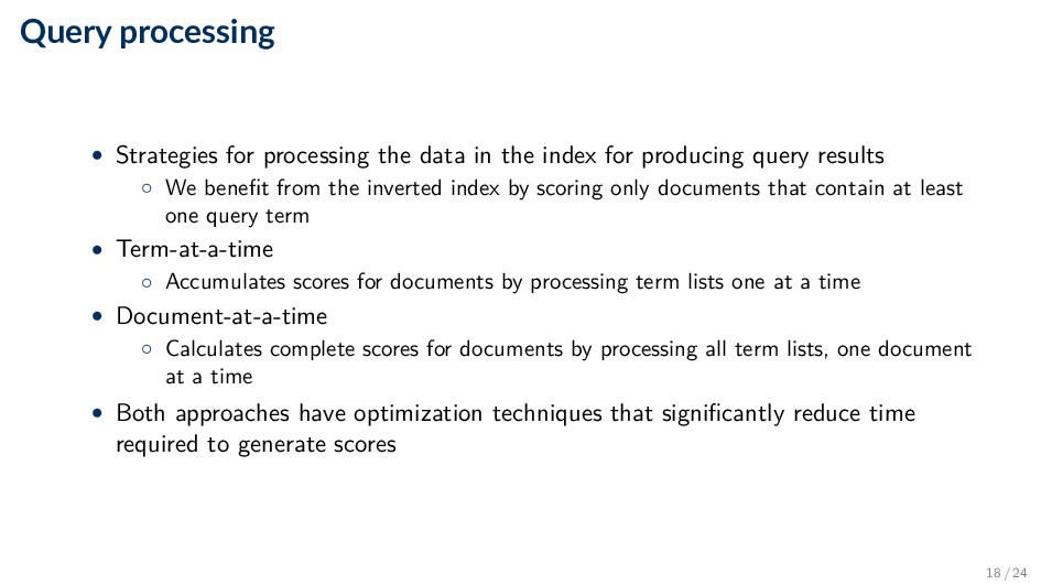 Query processing • Strategies for processing th...