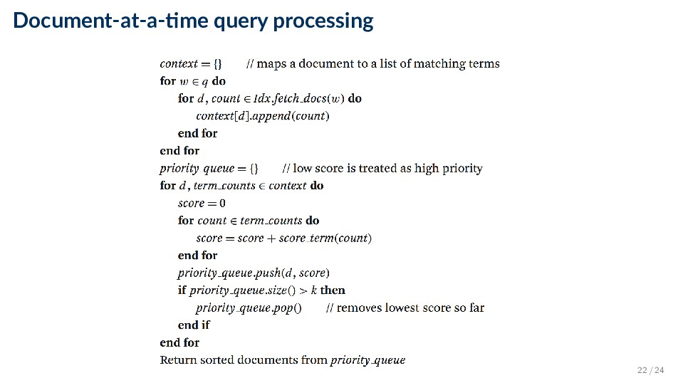Document-at-a- me query processing 22 / 24