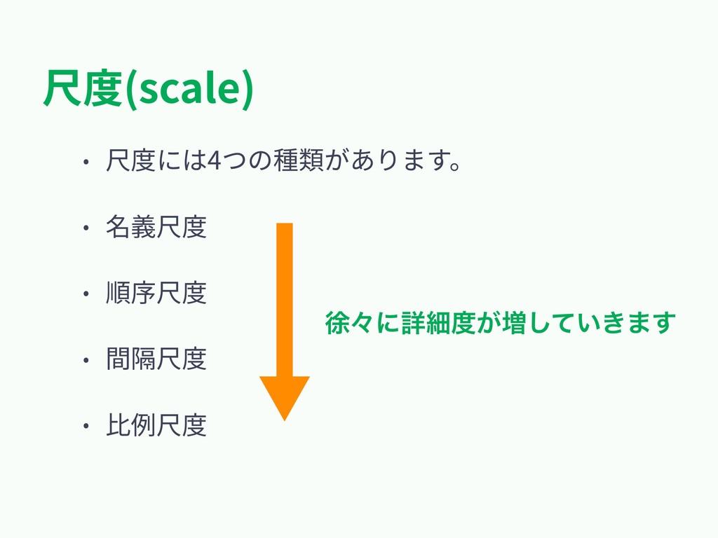 尺度(scale) • 尺度には4つの種類があります。 • 名義尺度 • 順序尺度 • 間隔尺...