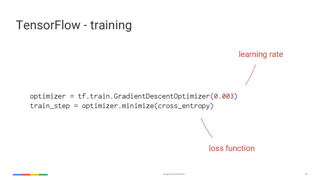 Google Cloud Platform 38 optimizer = tf.train.G...
