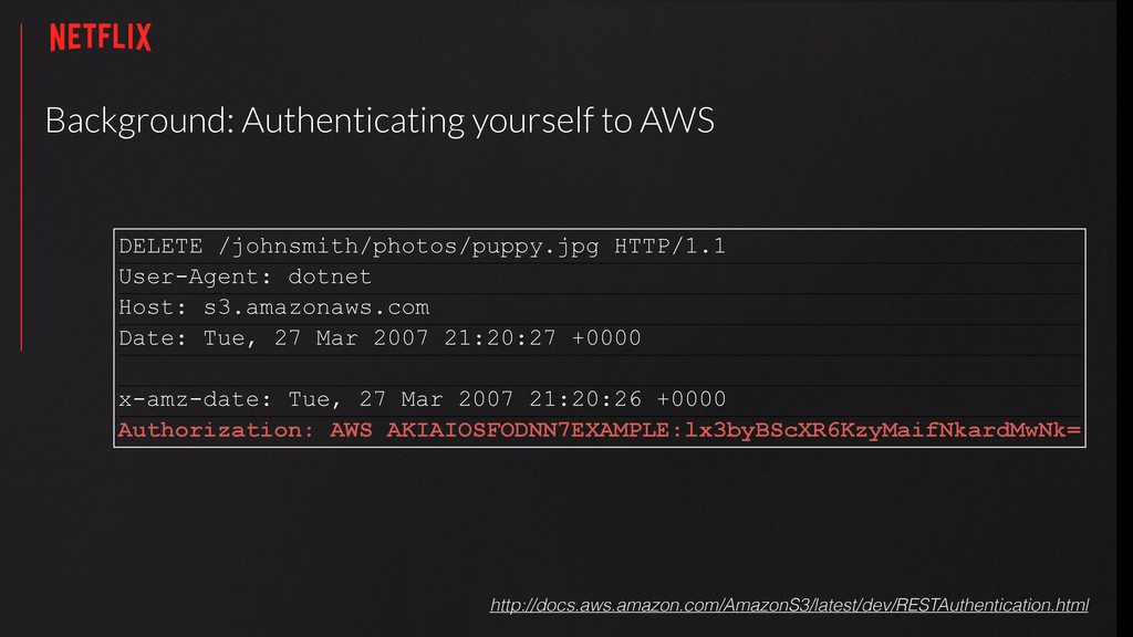 Background: Authenticating yourself to AWS http...