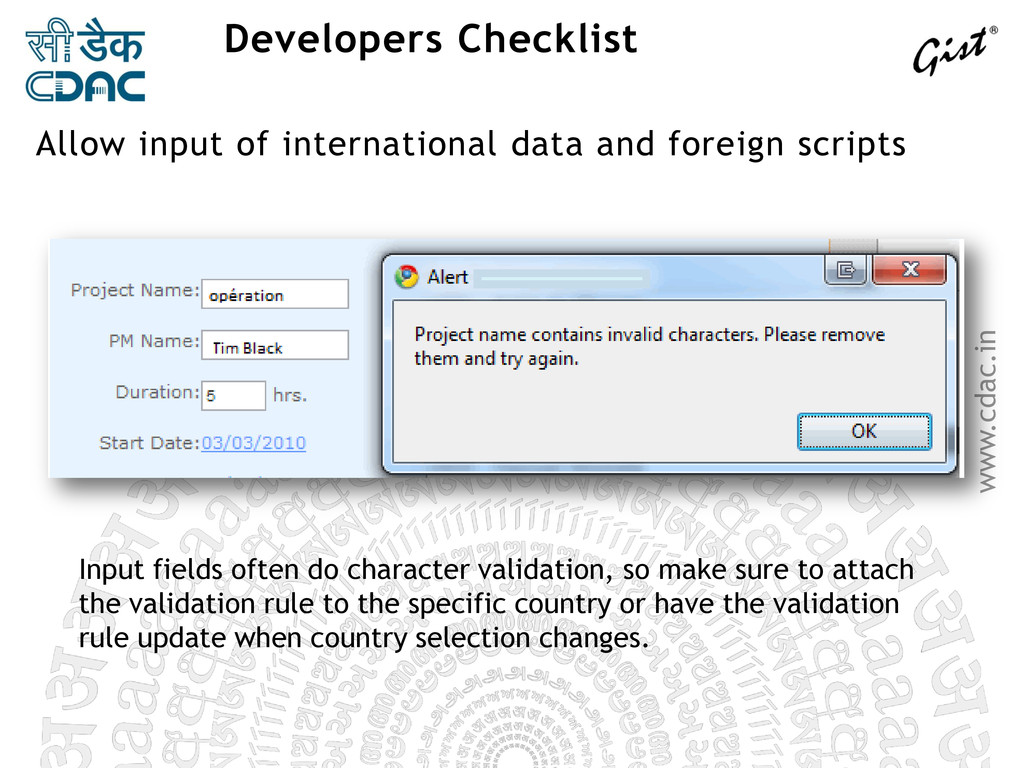 www.cdac.in Developers Checklist Input fields o...