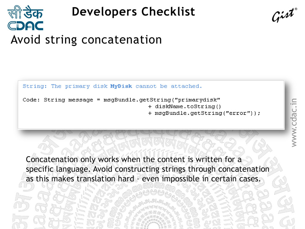 www.cdac.in Developers Checklist Concatenation ...