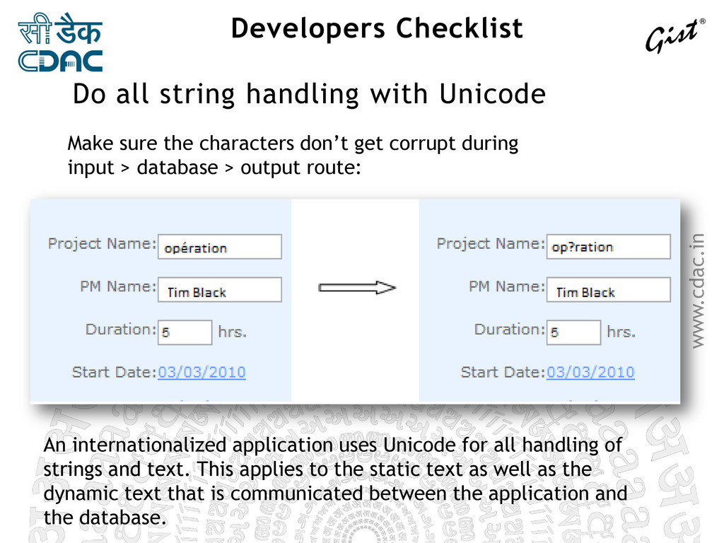 www.cdac.in Developers Checklist Make sure the ...