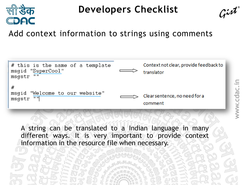 www.cdac.in Developers Checklist A string can b...