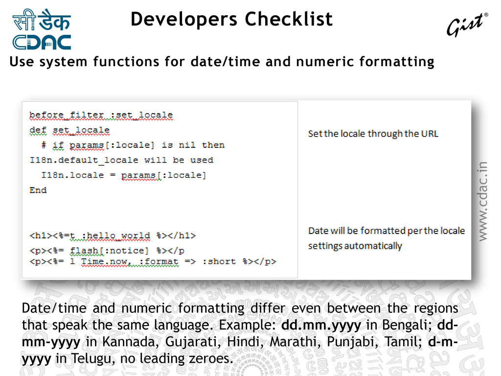 www.cdac.in Developers Checklist Date/time and ...