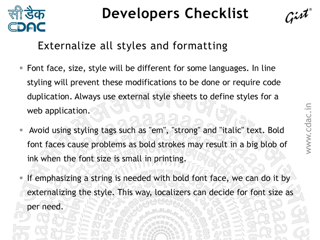 www.cdac.in Developers Checklist  Font face, s...