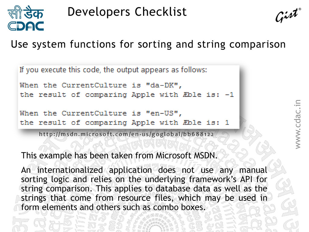 www.cdac.in Developers Checklist Use system fun...