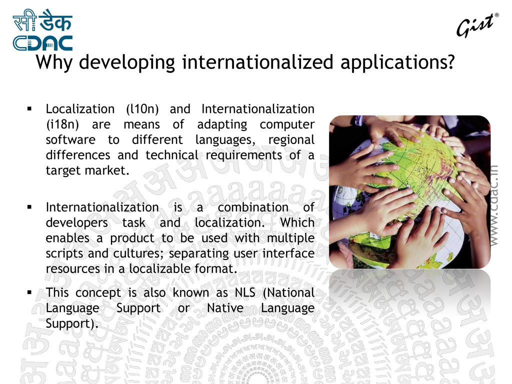 www.cdac.in Why developing internationalized ap...