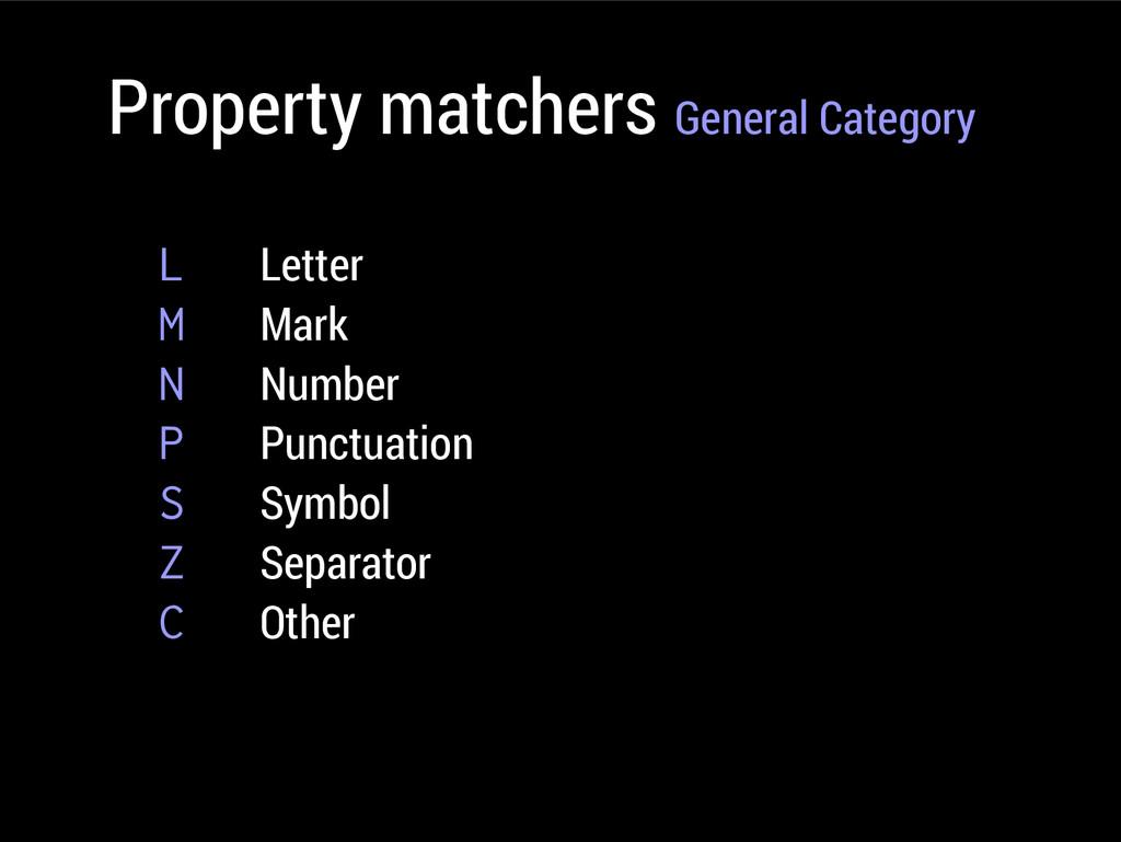Property matchers General Category L Letter M M...