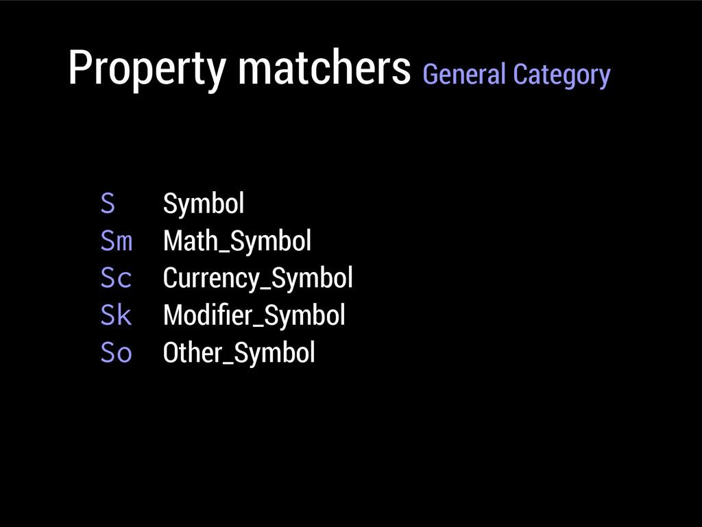 Property matchers General Category S Symbol Sm ...